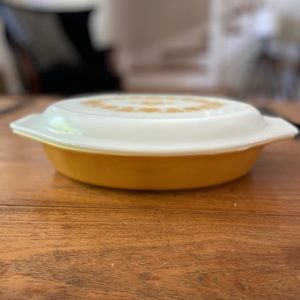 Butterfly Gold Pyrex Divide Serving Dish & lid